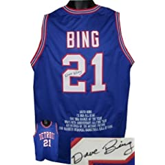 Dave Bing Autographed Hand Signed Detroit Pistons Blue Prostyle Jersey w  Embroidered... by Hall of Fame Memorabilia