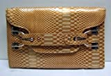 Statement Faux Leather Snake Print Oversized Flap Style Clutch Bag Gold