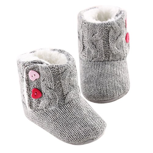 LIVEBOX Baby Cotton Knit Premium Soft Sole Anti-Slip Mid Calf Warm Winter Infant Prewalker Toddler Boots (M: 6~12 months)