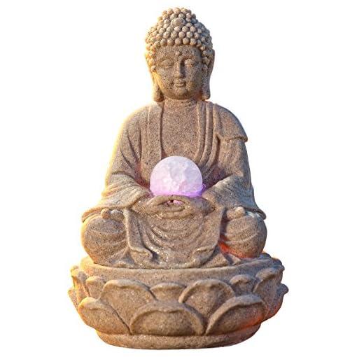 PAJOMA-53899-Zimmerbrunnen-Buddha-Lotus-LED-Beleuchtung-Kunstharz-Hhe-30-cm