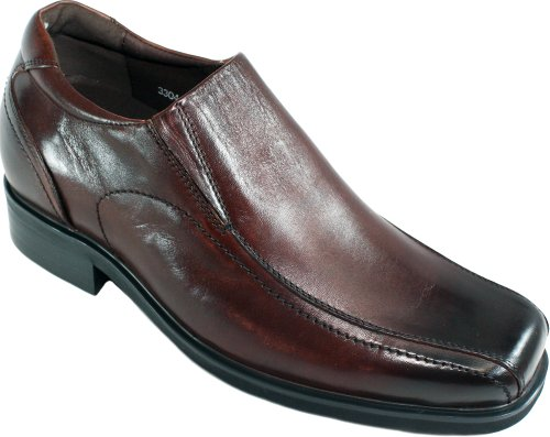 Calto - G51336 - 3 Inches Taller - Size 10 D Us - Height Increasing Elevator Shoes (Brown Leather Square-Toe Slip-On Dress Shoes)