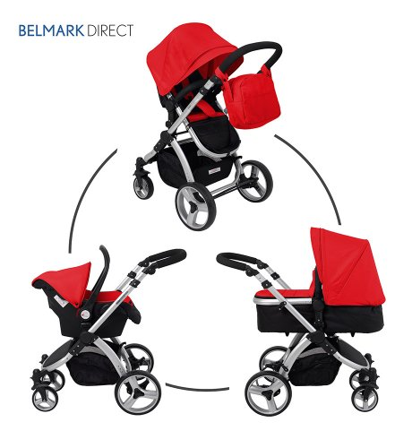 SproggiBELMARK 166949011 3 in 1 Baby Travel System/Stroller/Pram/Pushchair Red (silver frame) cruiser