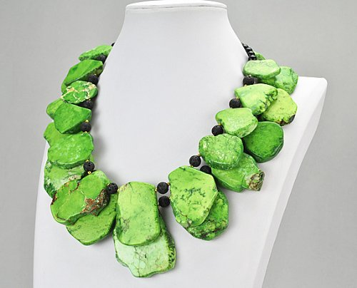 Green Turquoise Necklace, Chunky Turquoise Necklace, Statement Necklace, Nugget Necklace, Statement Green Necklace(Fn0418-Green)