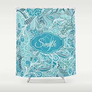 Blue Paisley Floral Personalized Shower Curtain