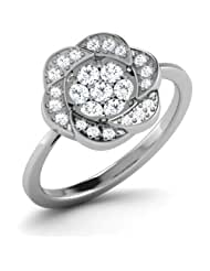 AT Jewellers 14K White Gold Over Sterling Flower Cluster Ring For Women's