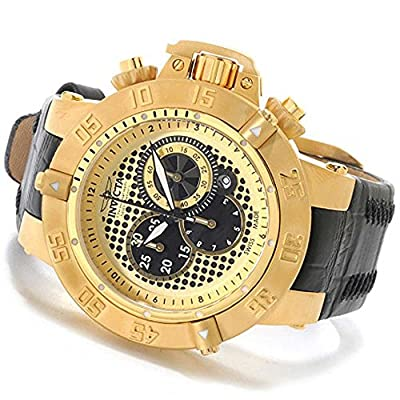 Invicta 80663 Mens 50mm Subaqua Noma III Swiss Chronograph Mother-of-Pearl Dial Leather Strap Watch