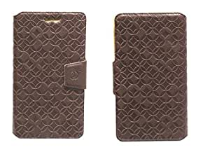 J Cover Vachetta Series Leather Pouch Flip Case With Silicon Holder For Le 1S Brown