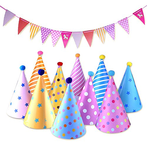 Kuuqa-Birthday-Party-Hats-with-8-Triangle-Pennant-Banner-Flags-for-Birthday-Party-Decoration-Set-of-22