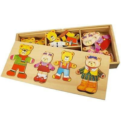 Bigjigs Toys BJ766 Wooden Dress Up Bear Family