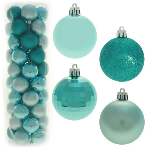 50 Piece Colour Co-ordinated Christmas Tree Bauble Pack - Turquoise / Silver