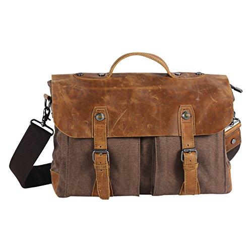 Wonder Youth Vintage Messenger Bag, Canvas and Genuine Leather Briefcase Shoulder Laptop Bag (Brown) (Messenger Bag Jack Bauer compare prices)