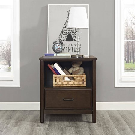 Ashcreek Nightstand Mocha Drawer Features Wheel Glides For An Easy Open and Close (Night Stand Mini Fridge compare prices)