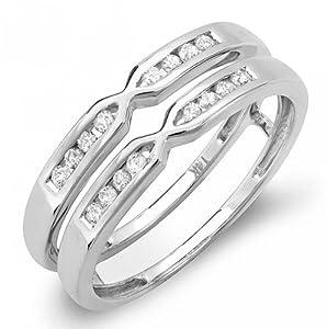 0.25 Carat (ctw) 14k White Gold Round Diamond Ladies Anniversary Wedding Band Enhancer Guard Double Ring 1/4 CT (Size 7)