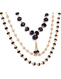 3 COmbo Mala With Gold Silver Black Beads With Golden Chain
