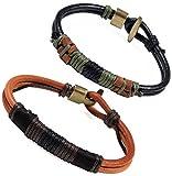 Colrov Leather Bracelet For Men,Handmade Wrist Rope Bracelets Bangle Set of 2 Black Brown