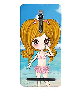 Printvisa Premium Back Cover Sweet Gir Lon A Beach Design For Asus Zenfone 2::Asus Zenfone 2 ZE550ML