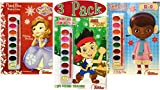 Disney Junior Paint Box Coloring Book Christmas Holiday Set of 3 - Sofia the First, Jake & Doc McStuffins