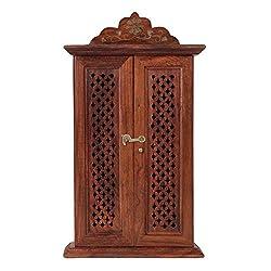 Artesia Wooden Jali Work Key Box With Door Carved Wooden Key Storage Box Wooden Key Holder key Hanger Box Wooden Wall Key Hanger Box Key Rack Wooden key Storage Box