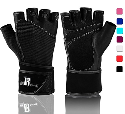Wrist Wrap Gloves For Gym Workout - Premium Weight Lifting Gloves For Crossfit, Crossfit Equipment - Best Gym Gloves - Ideal For Gym Weights Equipment Power Lifting (Black L)