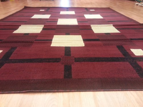 E527 Contemporary Modern Transitional Checkered Burgundy Red 5x8 Actual Size 5'3x7'2 Rug