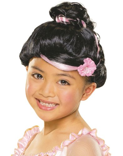 Black Up-Do Wig with Flower - Child Std.