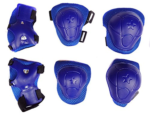 PapaLa Boy's Cycling Skating Knee Elbow Wrist Protective Pads Blue