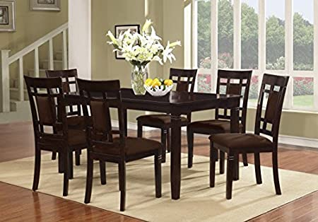 The Room Style 7 Pc Brand New Espresso Finish Solid Wood Dining Table Set, Table and 6 Chairs
