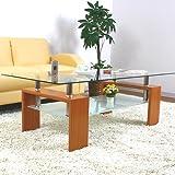 美感でスタイリッシュテーブル 幅120×奥行50cm 丁度良い大きさ ディスプレイセンターテーブル 棚板強化ガラス ナチュラル色