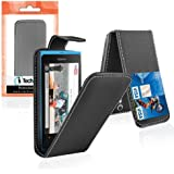 Nokia Lumia 800 Black Leather Flip Case Cover + Stylus Touch Pen + In Car Power Charger (3-IN-1 ACCESSORY PACK) - By iTechCover