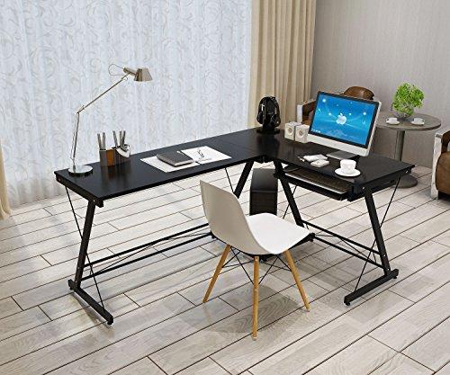 Soges L-Shaped Desk Computer Desk Multifunctional Computer Table Workstation, Black (Commercial L Shape Desk compare prices)