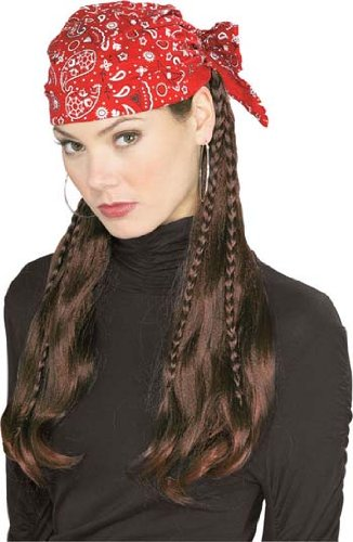 Adult Pirate Wig With Red Cap