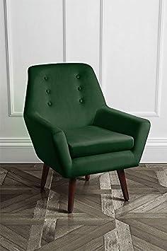 MY-Furniture VIVIENNE Verde Bottiglia - Poltrona retrò con gambe finitura in noce