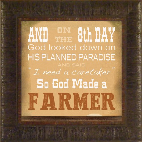 So God Made A Farmer By Todd Thunstedt 17.5X17.5 Farm All Farming John Deere Ih Farmall Allis Ford Combine Pig Sheep Lamb Holstein Dairy Hereford Beef Angus New Verse Framed Art Print Wall Décor Picture