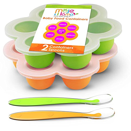 Best Homemade Baby Food Storage Container Freezer Trays - Reusable Food Container Silicon Tray With Clip On Lid - 2 Pack Bundle With 2 Bonus Spoons - BPA Free FDA Approved 2.6 Ounce - Green & Orange (Baby Food Cubes Storage compare prices)