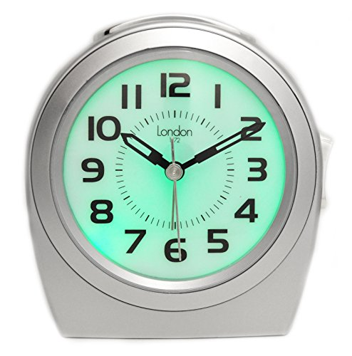 Classic Bold Silver Snooze Alarm Quartz Clock Sweeping Seconds Non Ticking with Auto Glow in the Dark Dial