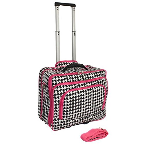 Single Piece Pink Trim Wheeling Briefcase, Fashion Print Women Rolling 17-inch Laptop Briefcase, Houndstooth Pattern, Business, Softsided, Multi-Compartment, Polyester Material, Light White Black (Wheeling Laptop Bag compare prices)