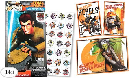 Star Wars Rebels Valentine Exchange Cards with Tattoos 34ct