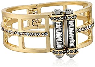 Kenneth Cole New York Gold-Tone Geometric Cut-Out Hinged Bangle Bracelet