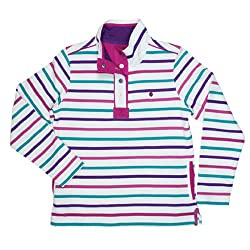 Ember Womens Ladies Striped 1/2 Placket Sweater Sweater Top - Tayberry
