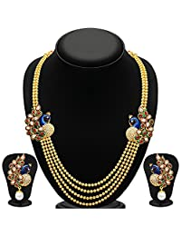 YouBella Traditional Dancing Peacock Temple Necklace Set / Jewellery Set For Women - B01DGZCIOG