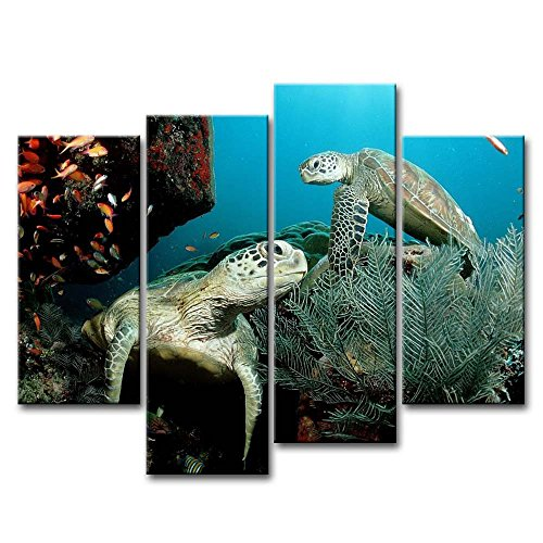 4 Piece Wall Art Painting Two Turtles With Fishes Pictures Prints On Canvas Animal The Picture Decor Oil For Home Modern Decoration Print