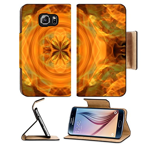 Liili Premium Samsung Galaxy S6 Flip Pu Leather Wallet Case IMAGE ID 4361932 Abstract hot fire peacock feather on dark background