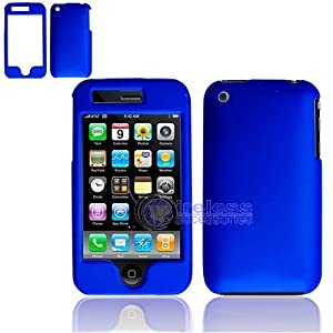 RUBBER FEEL Blue Snap-On Cover Hard Case Phone Protector for Apple iPhone 3G