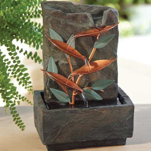 Copper Leaves Tabletop Fountain