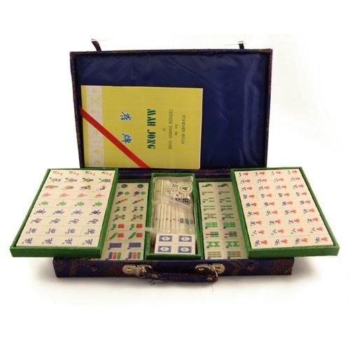 Mahjong Set with Bamboo  &  Bone Tiles in Brocade Case