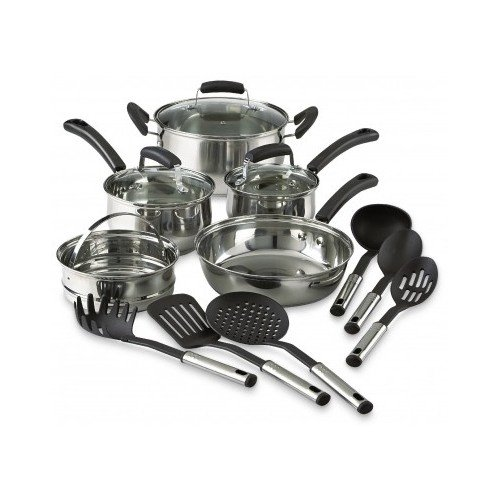 Essential cookware set 14 piece complete home kitchen for Kitchen kit set