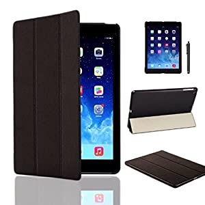 MOFRED® Black Ultra Slim New Apple iPad Air (Released November 2013) Leather Case Cover, Full Protection Smart Cover for iPad Air iPad 5 5th With Magnetic Auto Wake & Sleep Function + Screen Protector + Stylus Pen