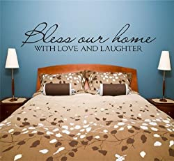 Bless Our Home With Love And Laughter Picture Art - Living Room - Peel & Stick Sticker - Vinyl Wall Decal - 22 Colors Available 14x24