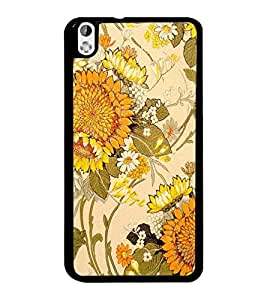 PrintDhaba Floral Design D-1441 Back Case Cover for HTC DESIRE 816 (Multi-Coloured)