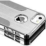 Coque iPhone 5S,ULAK iPhone 5 Coque Rigide Hybride avec dos en Métal Brossé PC pour iPhone 5S/5(Argent)